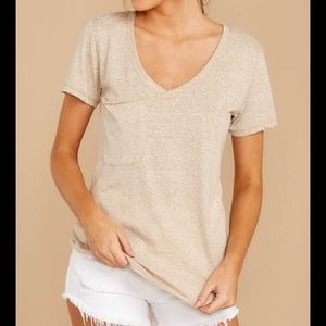 Z supply oatmeal beige v- neck top, XS